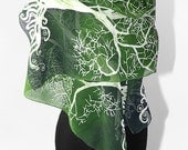Long silk scarves White Tree in Green hand painted hand made Scarf - green white LOTR - MinkuLUL