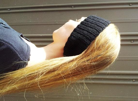 Ear warmer black headband crochet teen fashion womens handmade