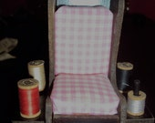 SALE Small Sewing Chair Vintage with wood spools Pincushion Pink