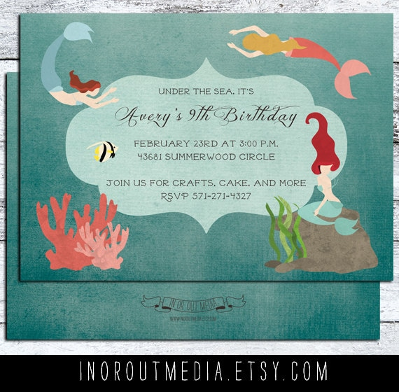 Mermaid, Under the Sea Birthday invitation - birthday invitations, first birthday card 5x7, nautical, mermaid theme, ocean theme party