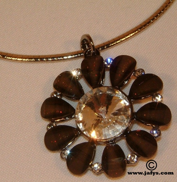 Necklace Ice Petals (brown necklace / chain choker / silver plated necklace)