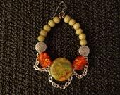 Earth Goddess - Gemstone Hoop Earrings, Fashion Earrings, Ethnic Earrings, Chain Hoops