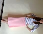 Vintage 1970s coral striped skirt