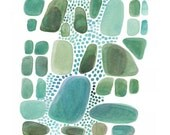 Green Pebbles connected Giclee print of watercolor painting nature inspired emerald  green pebbles - LouiseArtStudio