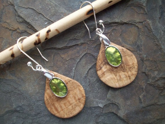 Hand Carved Teardrop Earrings - Oak Burl Wood - Green Enamel Medallion - Sterling Silver Hardware