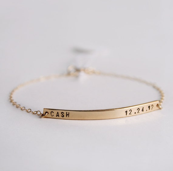 Skinny bar bracelet - Personalized nameplate bracelet  with tiny font - Initial bracelet - 14k gold fill - Mothers Day gift