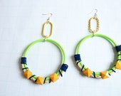 Geometric Yellow, Neon Green & Blue Large Coiled Hoop Earrings with Sisal Rope and Suede Lace -- OOAK