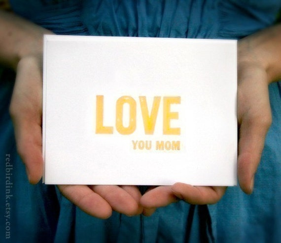 LOVE YOU MOM: Flat Lettepressed Card & Envelope (1ct)