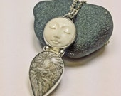 Bone Moonface and Fossil Coral Necklace