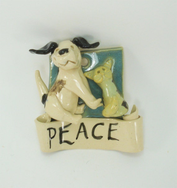 dog cat peace plaque