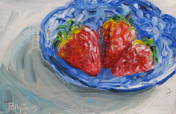 Underipe and Overcrowded Strawberries original mixed media painting by Polly Jones
