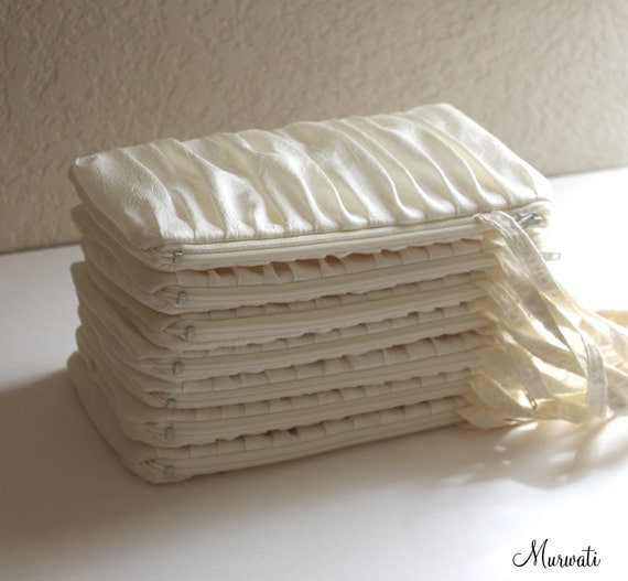 Ready To Ship-Ruche Bridal Clutch Wristlet in IVORY