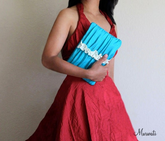 New-Wedding Clutch-Bridesmaids Gift-Pleated-SWEETHEART Clutch-Turquoise Gray Purple Black Silver Red Navy Green White Ivory And More