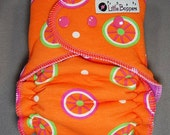 Cloth Diaper Medium Long Hybrid Fitted - by Little Boppers - Citrus Slices