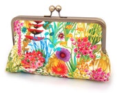 Garden party clutch bag : Silk-lined purse, wedding accessory, bridesmaid gift, bridal clutch, gift box - redrubyrose