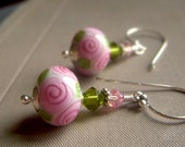 Floral Lampwork Earrings on Sterling . Pink SRA Artisan Glass Lampwork Dangle . Spring Rosebud - beadstylin