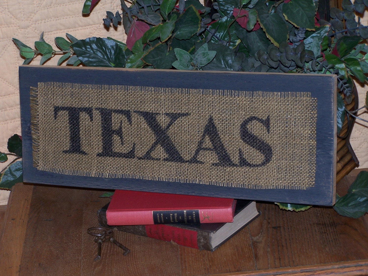 Burlap Wood Home Decor Sign TEXAS Wall Hanging Wooden by Sawdusted