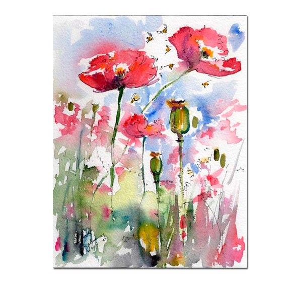 Pink Poppies Pods and Bees Original Watercolor Still Life by Ginette Callaway