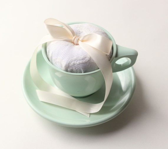 tea cup ring bearer pillow - plastic melmac, jadite green, vintage cup and saucer, wedding decor