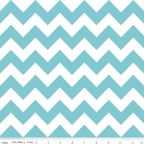 Riley Blake Medium Chevron Aqua Fabric, 1 yard