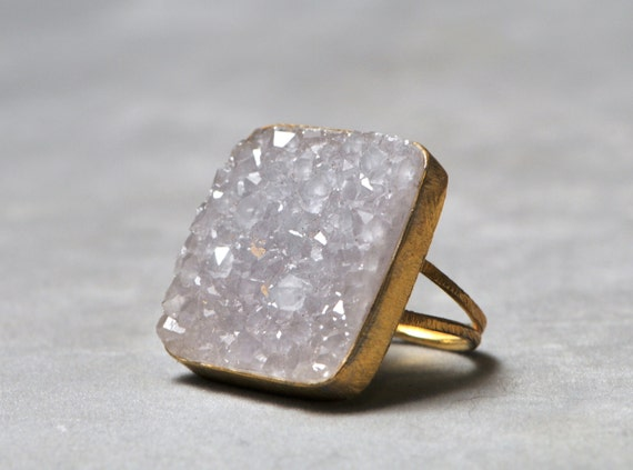 large square druzy ring gold adjustable lavender purple natural organic