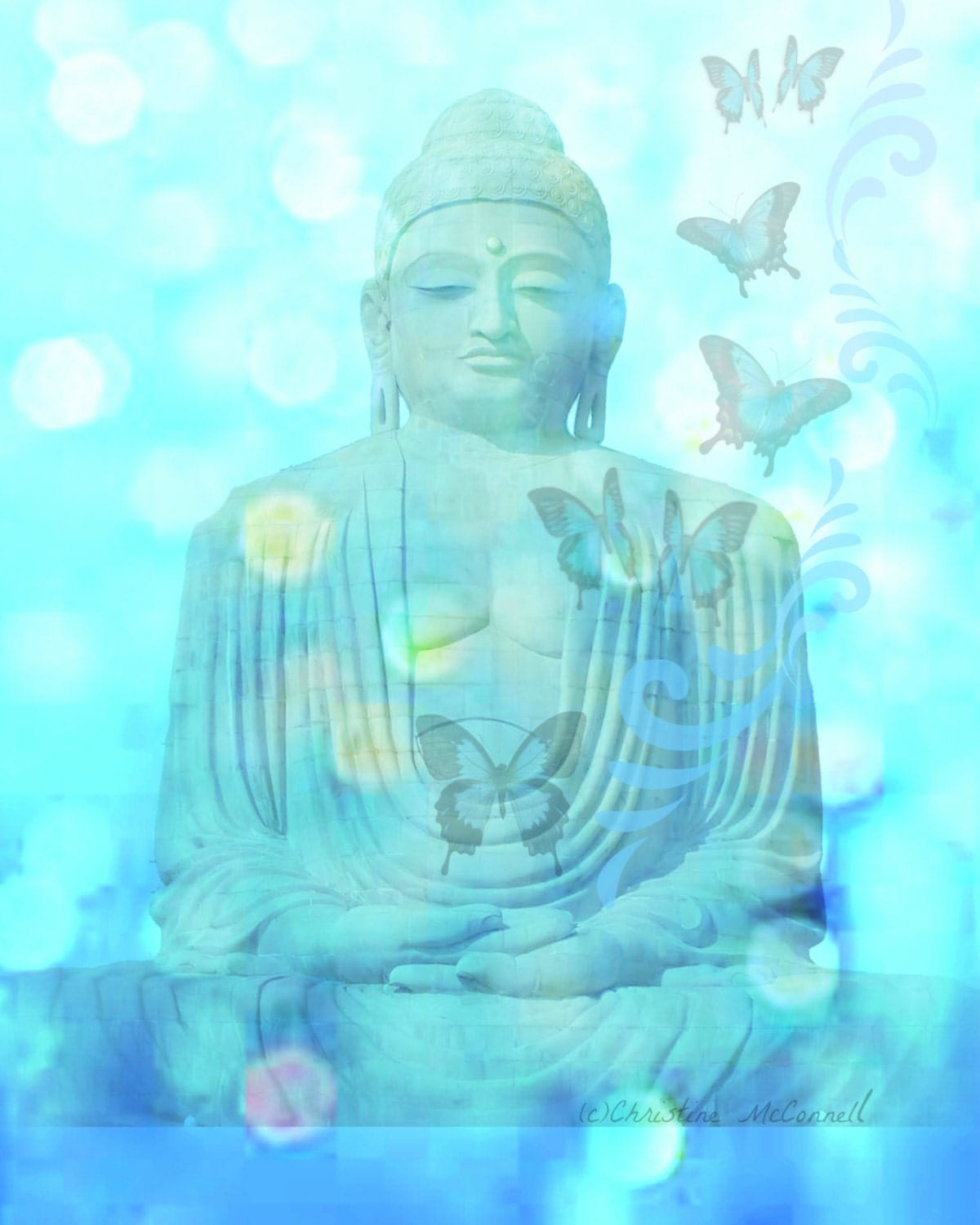 Buddha Butterflies Print 8x10 Photomontage by ARTDECADENCE on Etsy