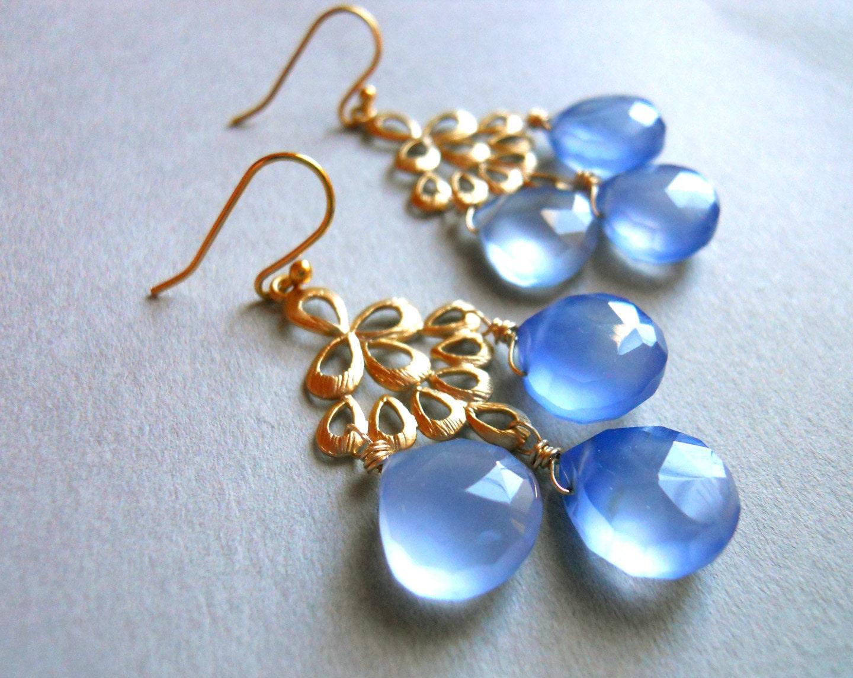 Hydrangea Chalcedony Matte Gold Chandelier Earrings / Orient Collection - $89.00 USD