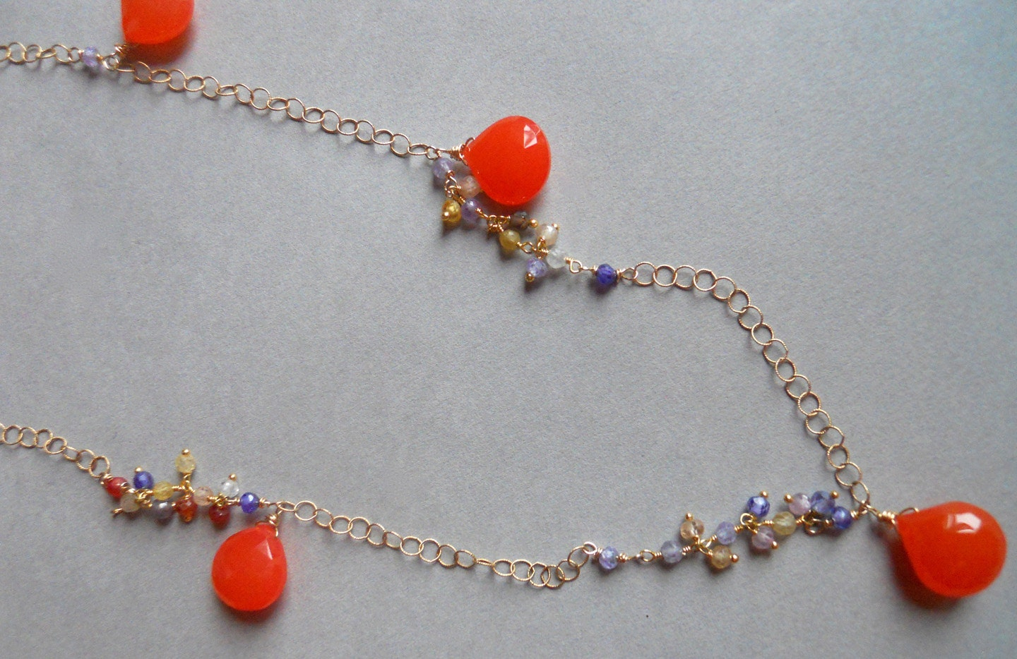 Sunshine nectarine chalcedony and gemstone long dangle necklace - $168.00 USD