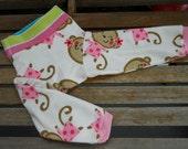 Medium upcycled fleece cloth diaper longies, Girly Monkeys