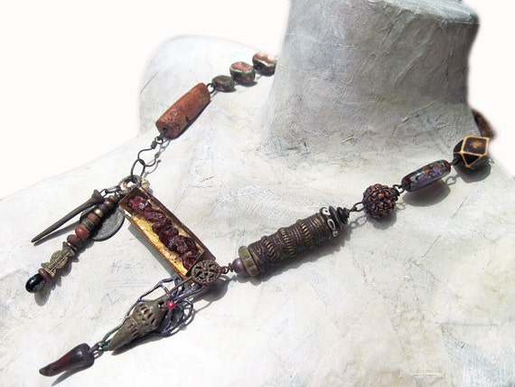 Art Will Remain. Rustic assemblage statement necklace with art beads, gold leaf, victorian tribal.