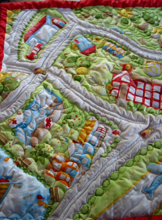 Baby Boy Quilt, Cars fabric , Map , Nursery Decor , Baby Blanket, Newborn Blanket, Baby Comforter,Play Mat