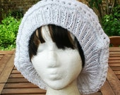Knit Hat - Eyelet Rasta in White - READY TO SHIP - Womens Accessories - Womens Fashion