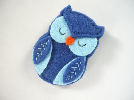 Brooch, Blue Felt  Owl