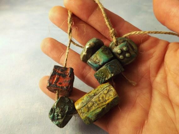 7 Artisan Stoneware Beads Embossed handmade Ceramic Clay Jewelry natural tribal rustic Stone Lichen Silver Grey white