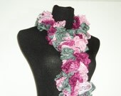 Pink Magenta and Gray Ruffle Scarf - Fashion Scarf