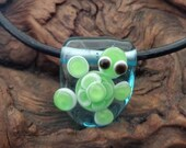 Hancrafted Lampwork Turtle Pendant on Leather Cord Necklace