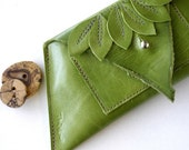 Leather Phone Wallet - Cash, Cards, etc  - Raw and Rustic - Cascade of Leaves with Raw Edge - TheFigLeaf