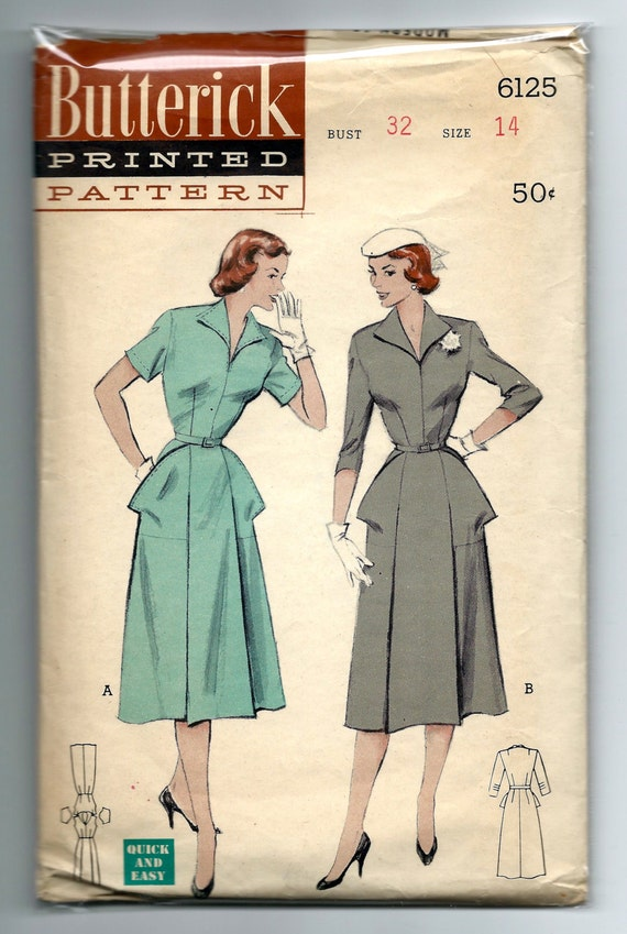 Vintage 1950s Butterick 6125 Misses Winged Collar Day Dress with Large Patch Pockets Sewing Pattern Size 14