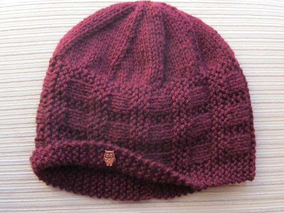 Number 92 PDF Knitting Pattern Burgundy Hat in Size Adult