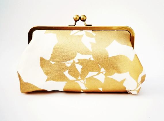 Gold Leaf Clutch Purse, Wedding Purse, Bridesmaid Clutch, Formal Evening Bag