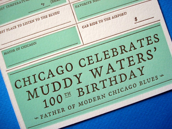 Letterpress Chicago 2013 Wedding Card