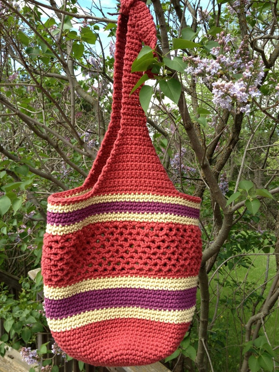 Crocheted Market Bag with Adjustable Handles Pattern