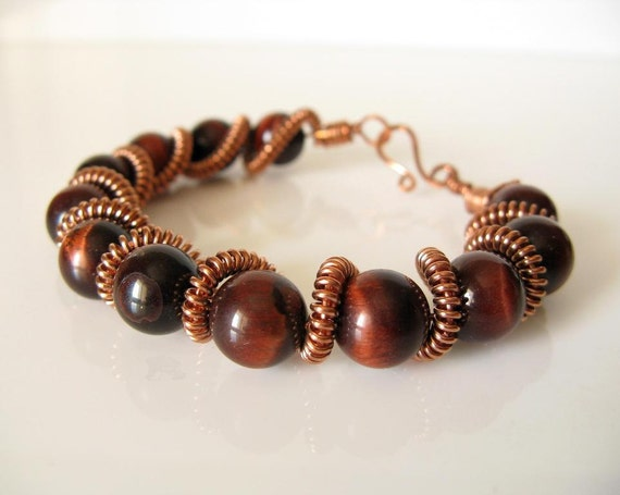 Copper coiled wire spiral red tiger eye bracelet on Etsy