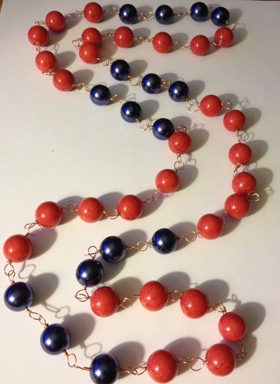 CORAL & NAVY NECLACE