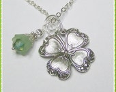 Silver CLOVER Necklace, Lucky Charm, Irish jewelry, four leaf clover, LUCKY SHAMROCK pendant - SouthernBelleOOAK