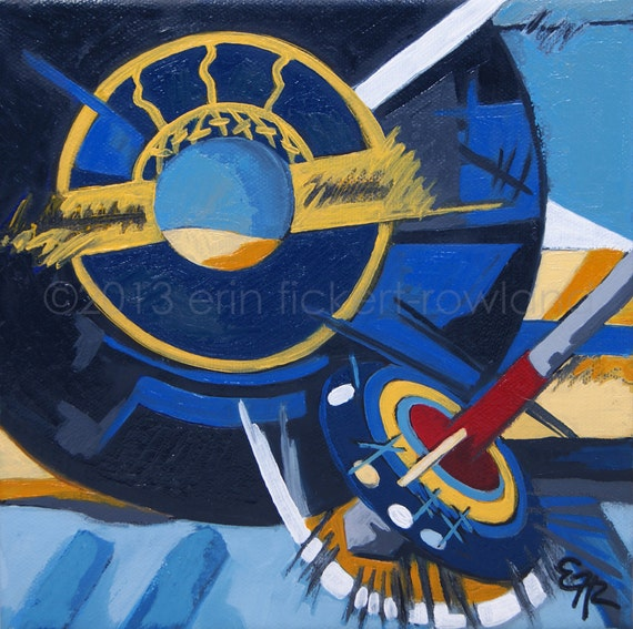 Modern Abstract Vinyl Record Still Life Painting- Spin It Like a Top- Original Oil on Canvas by Erin Fickert-Rowland
