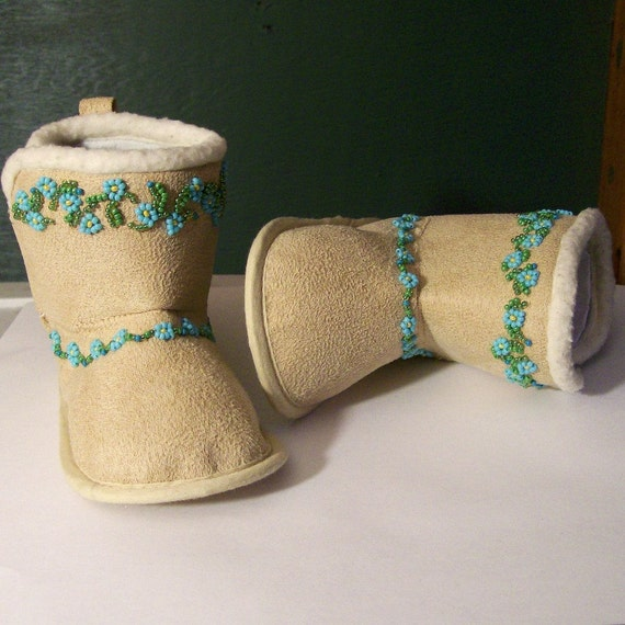 Bead Embroidery Baby Booties Alaskan Forget Me Nots