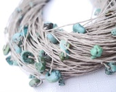 Turquoise Multi Strand Necklace Fiber Jewelry Chunky Azure Natural Turquoise Teal Blue Green Mint Eco Style Jewelry Beach Summer Fashion - DreamsFactory
