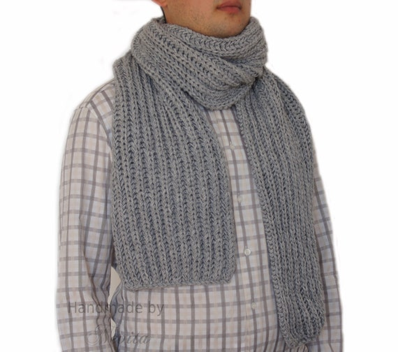 wool scarf men Grey Scarf Men Hand knitted mens scarf Mens Scarf  Hand Knitted Men's Scarves