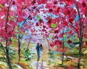 Spring Romance Blooms painting oil on canvas Landscape palette knife ABSTRACT modern texture fine art impressionism by Karen Tarlton - Karensfineart